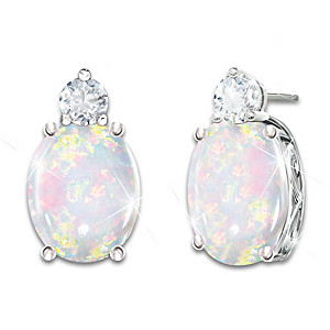 """Shimmering Elegance"" Australian Opal And Diamond Earrings"