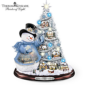 Thomas Kinkade Pre-Lit Tree And Snowman Tabletop Decor