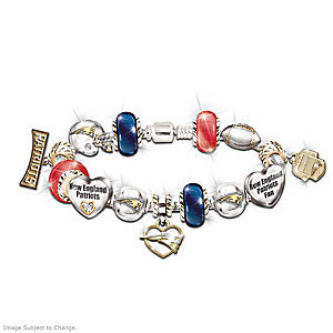 New England Patriots Charm Bracelet With Swarovski Crystals
