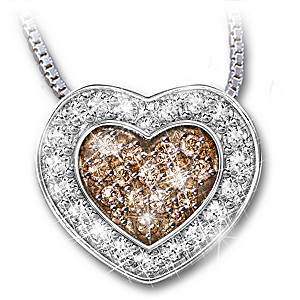 Heart shaped white and mocha colored diamond pendant necklace heart heart of love white and mocha colored diamond pendant aloadofball Choice Image