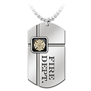 """""""For My Firefighter"""" Pendant Necklace With Sentiment Card"""