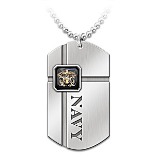 """""""For My Sailor"""" Engraved Dog Tag Pendant Necklace"""