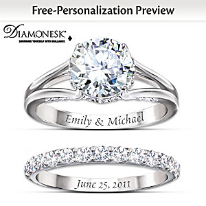 diamonesk bridal ring set with engraved names and date - Personalized Wedding Rings
