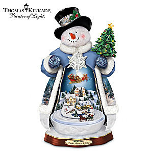 Thomas Kinkade Snowman With Lights, Music And Motion