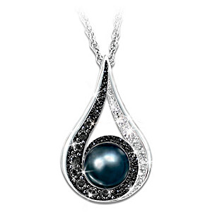 Diamond and cultured black pearl pendant necklace luminous reflections diamond and freshwater cultured black pearl pendant necklace aloadofball Image collections