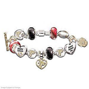 Atlanta Falcons Charm Bracelet With Swarovski Crystals 7022668c421d