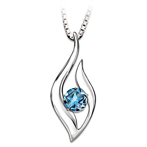 """""""Star"""" Blue Topaz Pendant With Poem Card For Daughters"""