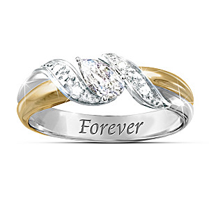White Topaz Engraved Bereavement Ring With Poem Card