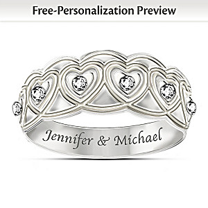 Hearts Full Of Diamonds Personalized Eternity Ring