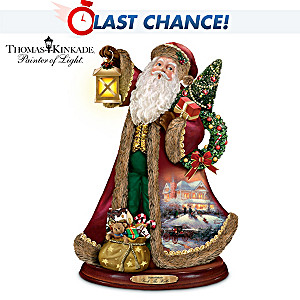 "Thomas Kinkade ""Deck The Halls"" Caroling Santa Sculpture"