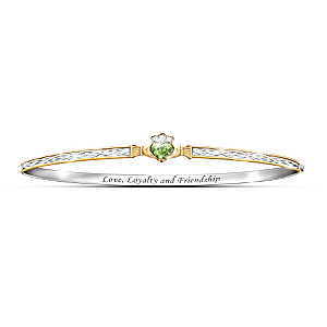 Claddagh Bracelet With Peridot Crystals And Celtic Knots