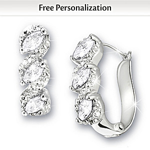 Genuine Birthstone And Diamond Cuff Earrings