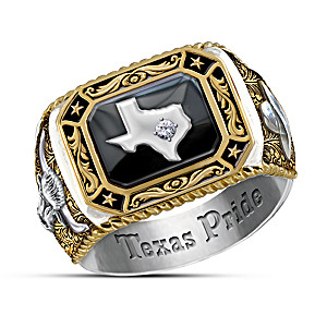 """Spirit Of Texas"" Solid Sterling Silver Men's Diamond Ring"