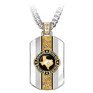 Texas Pride Pendant Necklace With Onyx And A White Sapphire