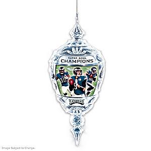 Eagles Super Bowl LII Champions Crystal Christmas Ornament