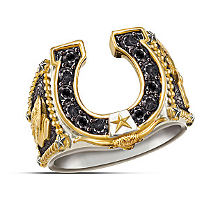 """Spirit Of The West"" Western Style Horseshoe Men's Ring"