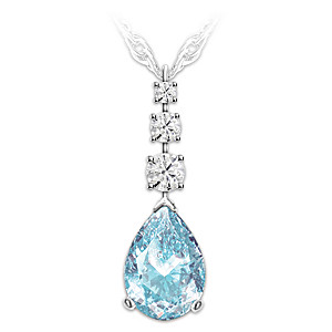 Topaz And Aquamarine Remembrance Pendant Necklace
