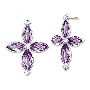 """Holy Trinity"" Amethyst And Diamond Earrings"