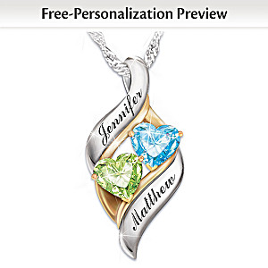 Romantic personalized birthstone pendant necklace loving embrace personalized birthstone pendant with heart shaped stones aloadofball Images