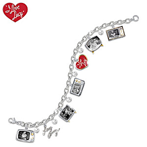 60th Anniversary I LOVE LUCY Crystal Charm Bracelet