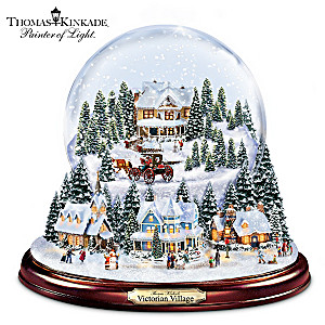 thomas kinkade holiday village illuminated musical snowglobe - Large Christmas Snow Globes