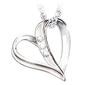 Engraved Heart Diamond Necklace For Granddaughter With Poem