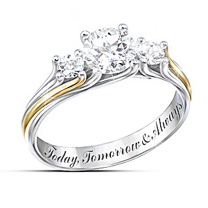 """I Am Yours"" Engraved White Topaz Couples Ring"