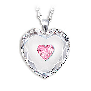 Crystal Heart Pendant With Birthstone For Daughter
