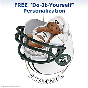 Jets Personalized African-American Baby Christmas Ornament