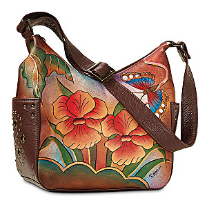 Hand-Painted Signed Leather Purse By Roma Basu Artisans