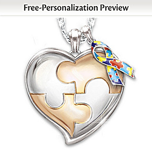 Autism support personalized pendant necklace my hero my hero autism awareness personalized pendant necklace aloadofball Image collections