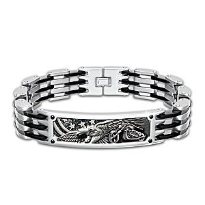 """""""Born To Ride"""" Men's Stainless Steel Bracelet"""
