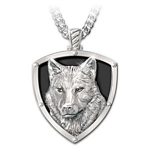 """Untamed Spirit"" Men's Stainless Steel Wolf Pendant Necklace"