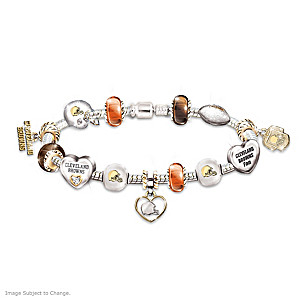 Cleveland Browns Charm Bracelet With Swarovski Crystals