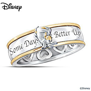 """""""Some Days Look Better Upside Down"""" Eeyore Spinning Ring"""