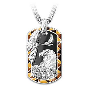 """""""Sedona Spirit"""" Eagle Onyx Dog Tag Pendant Necklace"""