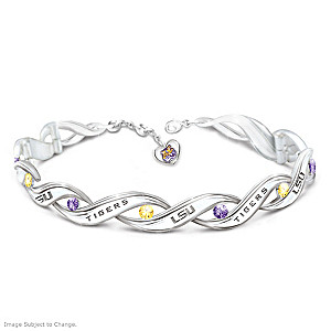 """LSU Pride"" Bracelet With Logo Heart Charm"