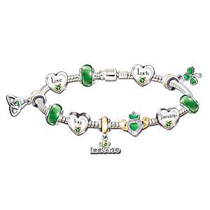 Irish Blessings Charm Bracelet With Swarovski Crystals