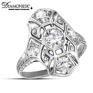 """""""Timeless Radiance"""" Diamonesk Art Deco Heirloom Replica Ring"""