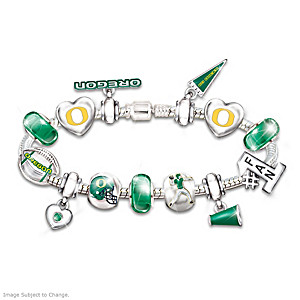 Oregon Ducks Charm Bracelet With Swarovski Crystals