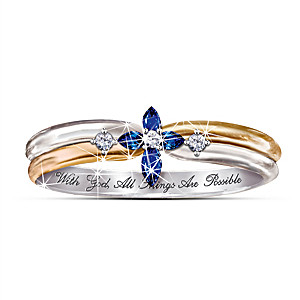 """The Trinity"" Sapphire And Diamond Women's Religious Ring"