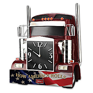 """How America Rolls"" Sculptural Semi-Truck Wall Clock"