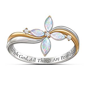 The Holy Trinity Opal And Diamond Cross Ring