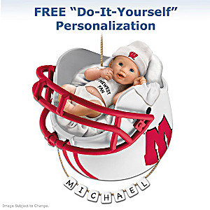 "Personalized ""Badgers Fan"" Baby's First Christmas Ornament"