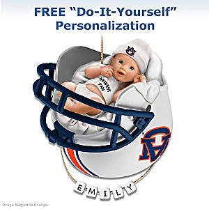 Personalized Auburn Tigers Fan Baby's First Ornament