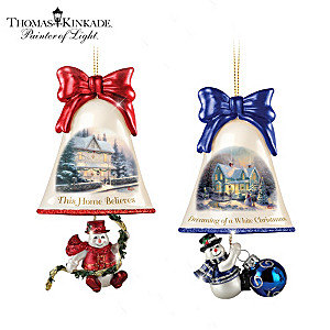 Thomas Kinkade Ringing In The Holidays Ornaments: Set 3