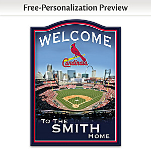 Cardinals Wooden Welcome Sign Personalized With Name