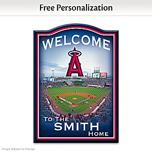 Angels Wooden Welcome Sign Personalized With Name