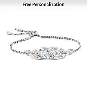 Family Tree Bracelet Personalized With Birthstones And Names