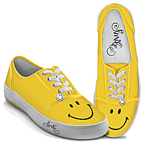 "Yellow ""Smile"" Women's Art Sneakers With Sculpted Charms"